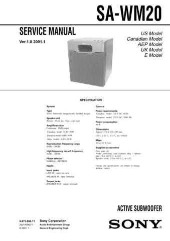 Sony sa-w55x. Technical Manual. by download Mauritron #243770