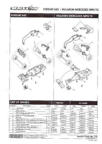 Scalextrix No.310 McLaren Mercedes MP4-10 and Farrari 643 Service Sheets by dow