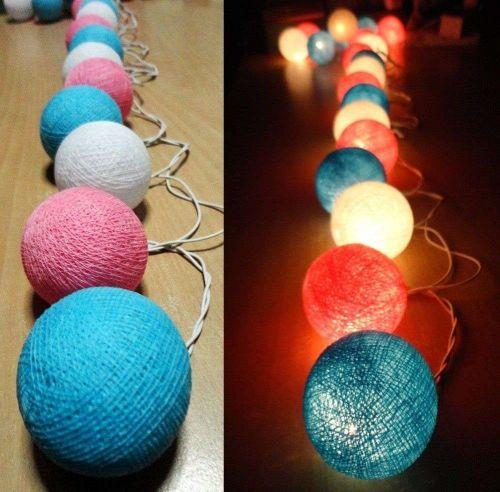 SWEET COOL TONE 20 COTTON BALL STRING LIGHTS PARTY WEDDING HOME GARDEN DÉCOR