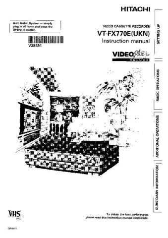 Hitachi VTFX795A Manual by download Mauritron #225761