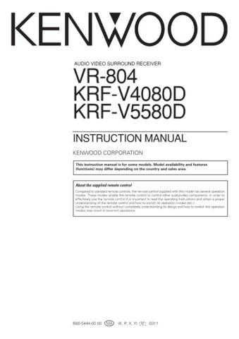 Kenwood KRF-V6030D Operating Guide by download Mauritron #219476