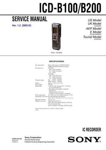 Sony ICD-B100B200 Service Manual. by download Mauritron #241462