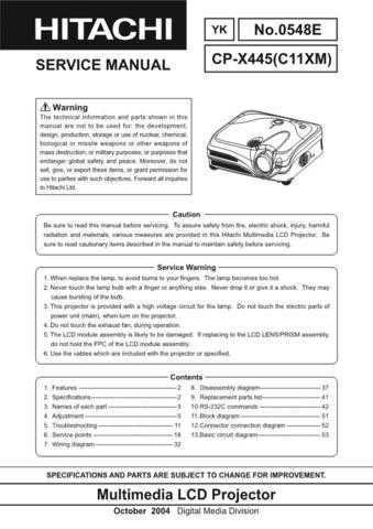 Hitachi CPX445 Service Manual Schematics by download Mauritron #205926