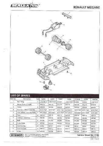 Scalextrix No.316B Renault Megane Service Sheets by download Mauritron #206386
