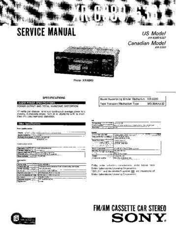 Sony XR-5790R-5800R Service Manual. by download Mauritron #246127