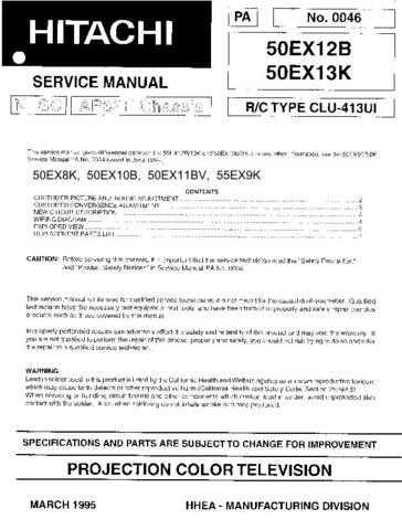 Hitachi 50EX11BV Service Manual Schematics by download Mauritron #205808