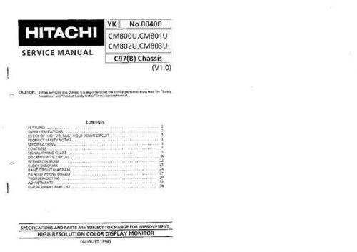 Hitachi CM803U Service Manual Schematics by download Mauritron #205884