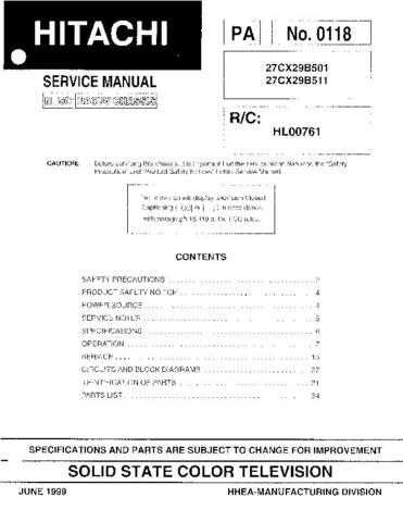 Hitachi 27CX29B Service Manual Schematics by download Mauritron #205714