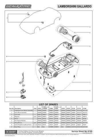 Scalextrix No.413D Lamborghini Gallardo Service Sheets by download Mauritron #2