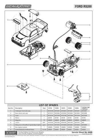 Scalextrix No.468B Ford RS200 Service Sheets by download Mauritron #206650