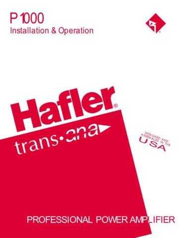 HAFLER P1000 Manual by download Mauritron #230013