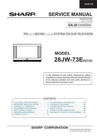 Sharp 28JW73E (1) Service Manual by download Mauritron #207559