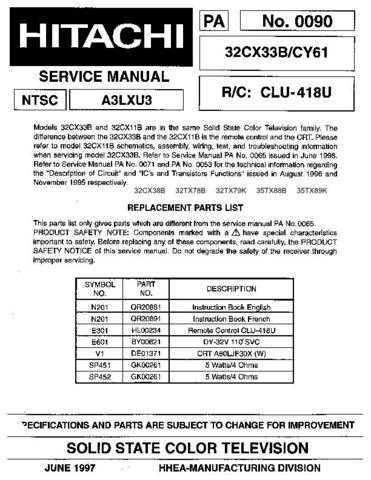 Hitachi 32CX11B Service Manual Schematics by download Mauritron #205750
