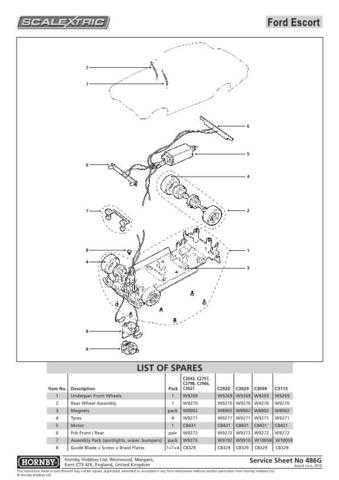 Scalextrix No.386G Ford Escort Service Sheets by download Mauritron #206538