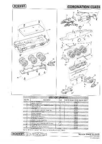 Hornby No.222B Coronation Class Service Sheets by download Mauritron #206939