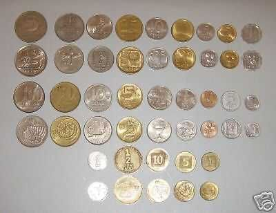 Complete coin set of Israel Lira, Old and New Sheqel