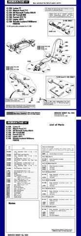 Scalextrix No.102C Lotus Ford Renault Tyrrell Ferrari Ligier and Leyland Service
