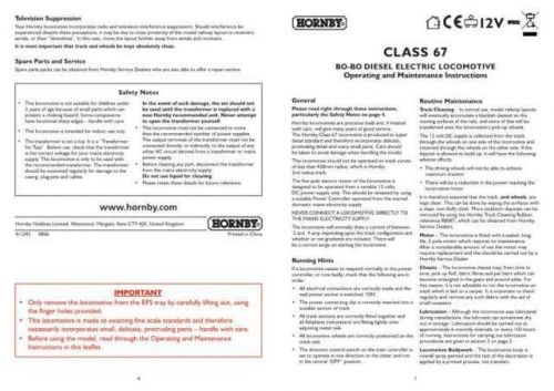 Hornby Class 67 BO BO Diesel Maintenance Sheets by download Mauritron #206711