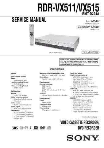 Sony RDR-VX511VX515 Technical Manual. by download Mauritron #243616