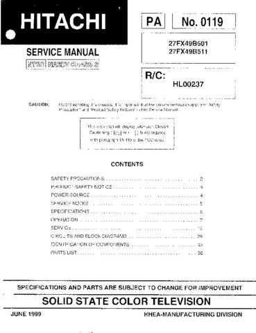 Hitachi 27FX49B501-511Service Manual by download Mauritron #260229