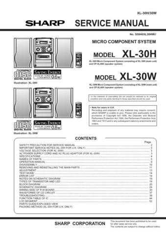 Sharp XL30H-W Service Manual by download Mauritron #207689