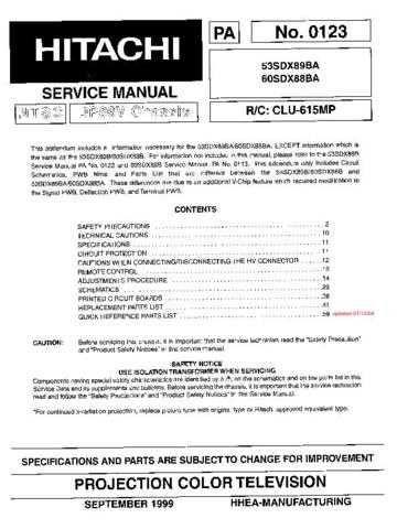 Hitachi 53SDX89BA Service Manual Schematics by download Mauritron #205864