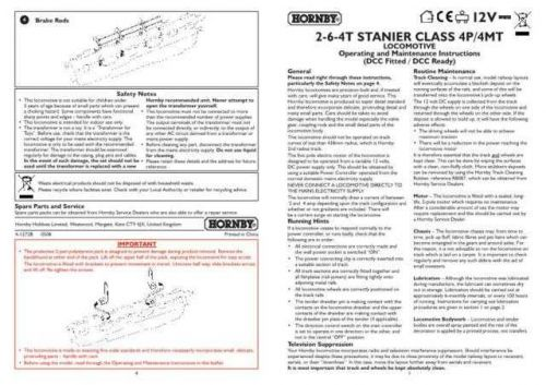 Hornby 2-6-4T Stanier Class 4P 4MT Maintenance Sheets by download Mauritron #20