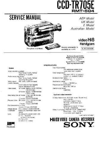 SONY DCRPC100 CAMCORDER SERVICE MANUAL Technical Info by download #104861