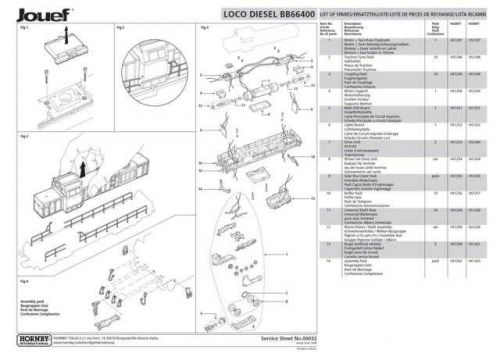 Jouef No.00032 Diesel Loco BB66400 Service Sheets by download Mauritron #206155
