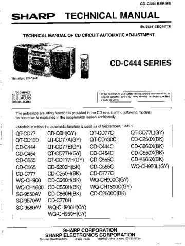 Sharp CDC444-SERIAL TM GB-DE Service Manual by download Mauritron #208504