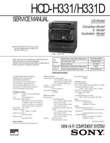 Sony HCD-H331D Service Manual by download Mauritron #241110