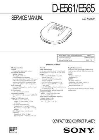 SONY D-E561 Technical by download #104872