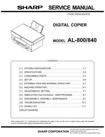 Sharp AL800-840 Service Manual by download Mauritron #208015