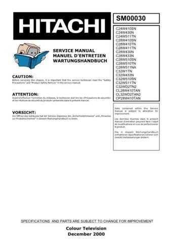 Hitachi C32W1TN Service Manual by download Mauritron #260536