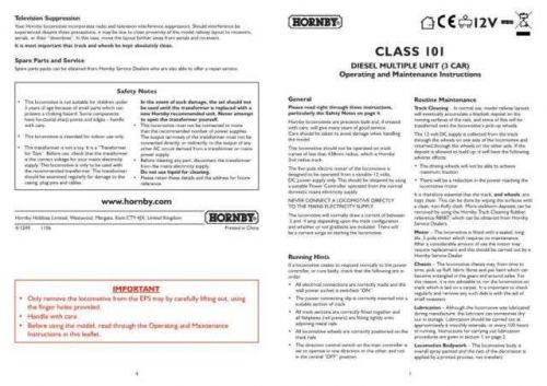 Hornby Class 101 DMU (3-Car) Maintenance Sheets by download Mauritron #206688