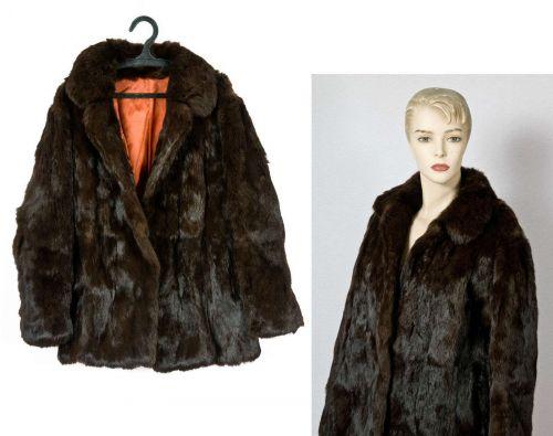 Vintage lovely rich brown genuine fur mink coat jacket S / M