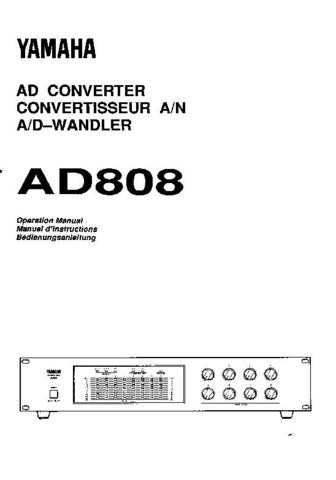 Yamaha AD808E Operating Guide by download Mauritron #246663
