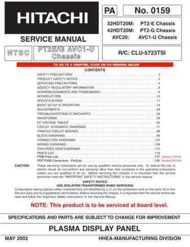Hitachi 32HDT20 Service Manual Schematics by download Mauritron #205763