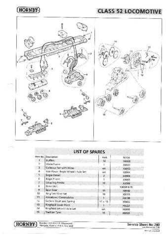 Hornby No.240 Class 52 Service Sheets by download Mauritron #206976