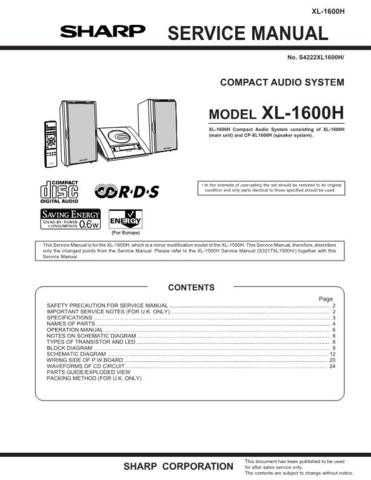 Sharp XL1600H (1) Service Manual by download Mauritron #207686