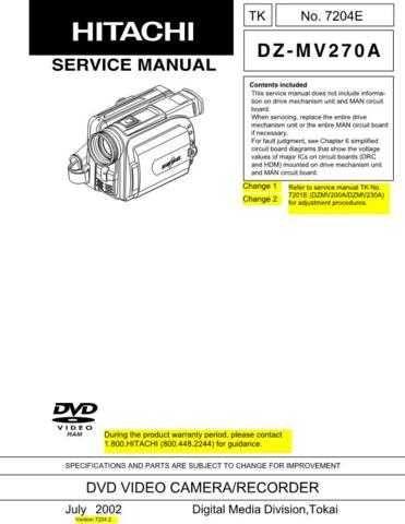 Hitachi DZMV350E Service Manual by download Mauritron #261940