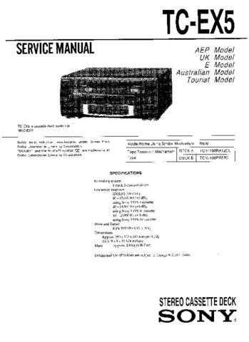 Sony TC-EX5 Service Manual by download Mauritron #233361