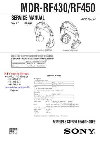 SONY MDRRF430 MDRRF450 Technical Info by download #104811