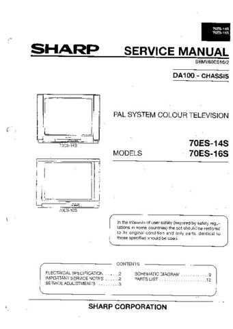 Sharp 70ES14S-16S (1) Service Manual by download Mauritron #207924