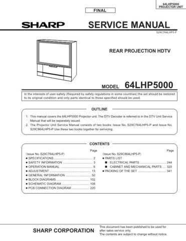 Sharp 64LHP5SM Service Manual by download Mauritron #207893