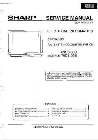 Sharp 63CS06S-70CS06S (1) Service Manual by download Mauritron #207887