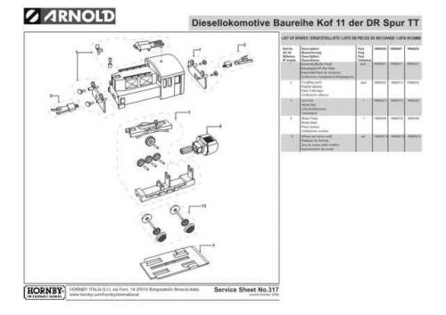 Arnold No.317 Baureihe Kof 11 der DR Spur TT HN9002 Information by download Mau