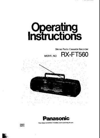 Panasonic RXFT560 Operating Instruction Book by download Mauritron #236375