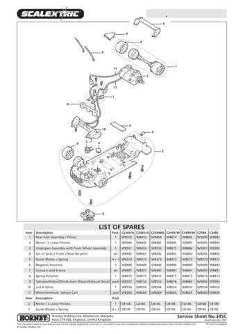 Scalextrix No.345C Mitsubishi Lancer Service Sheets by download Mauritron #2064