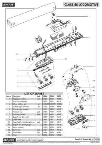 Hornby No.368 Class 66 Service Sheets by download Mauritron #207152